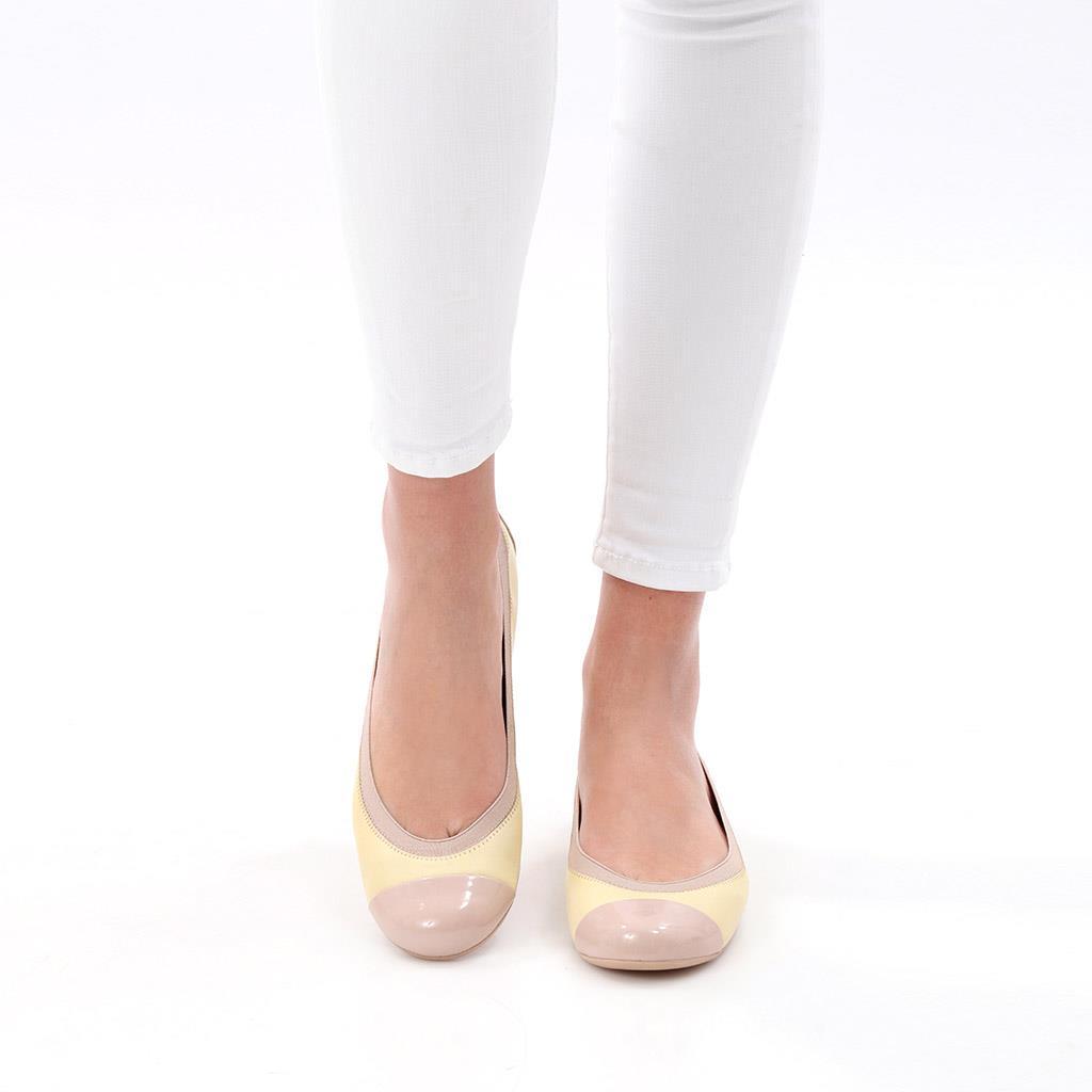 Joelle|ורוד|צהוב|נעלי בובה|נעלי בלרינה|נעליים שטוחות|נעליים נוחות|ballerinas