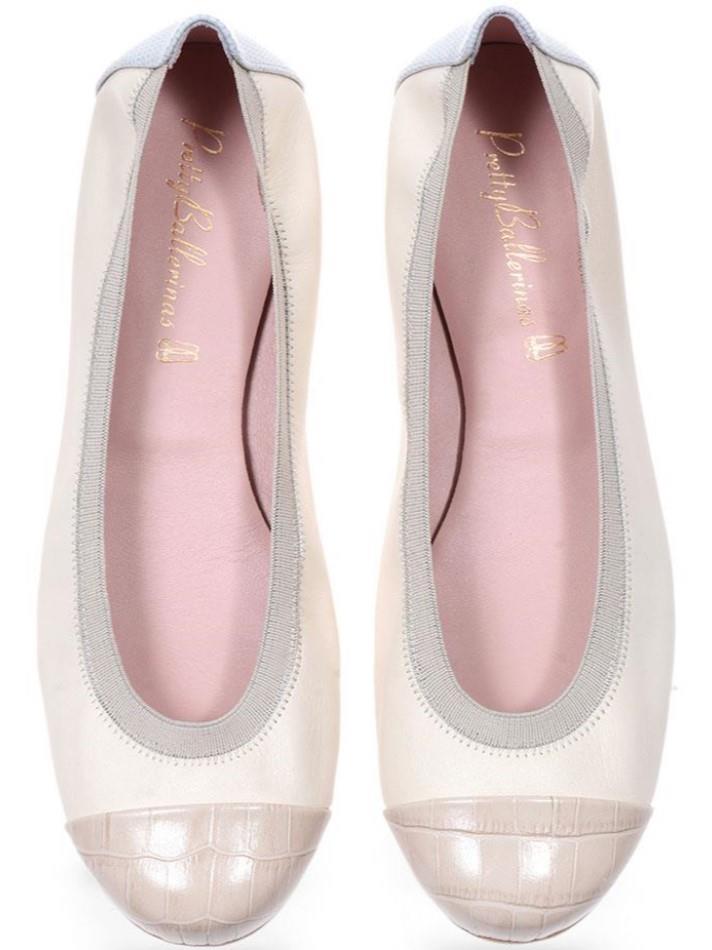 Annika|אבן|לבן|נעלי בובה|נעלי בלרינה|נעליים שטוחות|נעליים נוחות|ballerinas