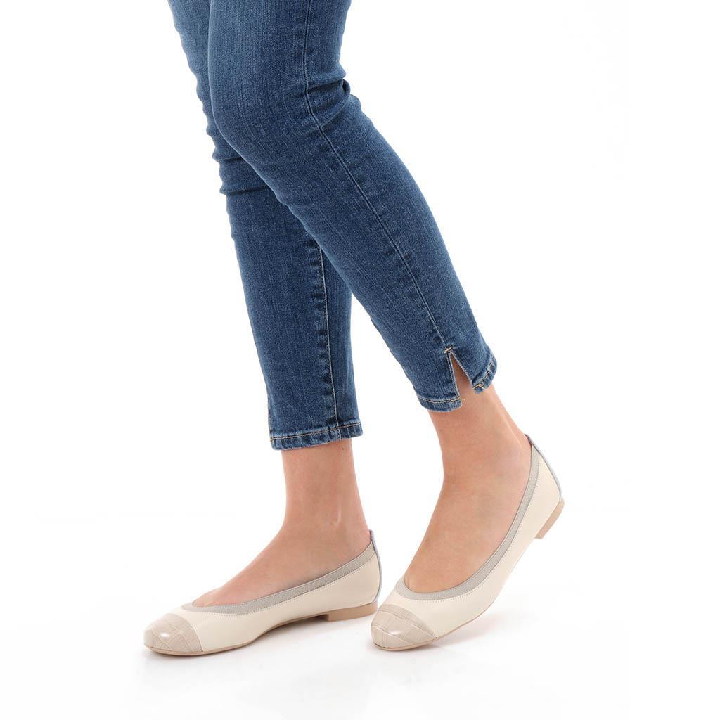 Annika אבן לבן נעלי בובה נעלי בלרינה נעליים שטוחות נעליים נוחות ballerinas