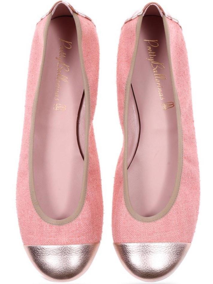 Shirley|ורוד|זהב|נעלי בובה|נעלי בלרינה|נעליים שטוחות|נעליים נוחות|ballerinas