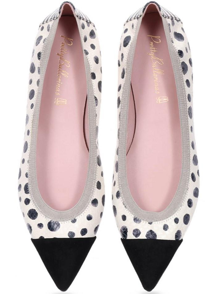 Monica|שחור|לבן|נעלי בובה|נעלי בלרינה|נעליים שטוחות|נעליים נוחות|ballerinas