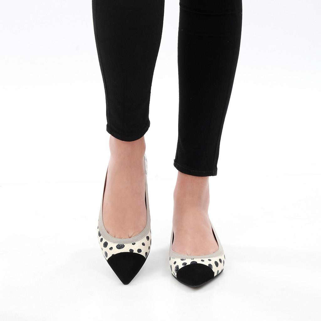 Monica שחור לבן נעלי בובה נעלי בלרינה נעליים שטוחות נעליים נוחות ballerinas