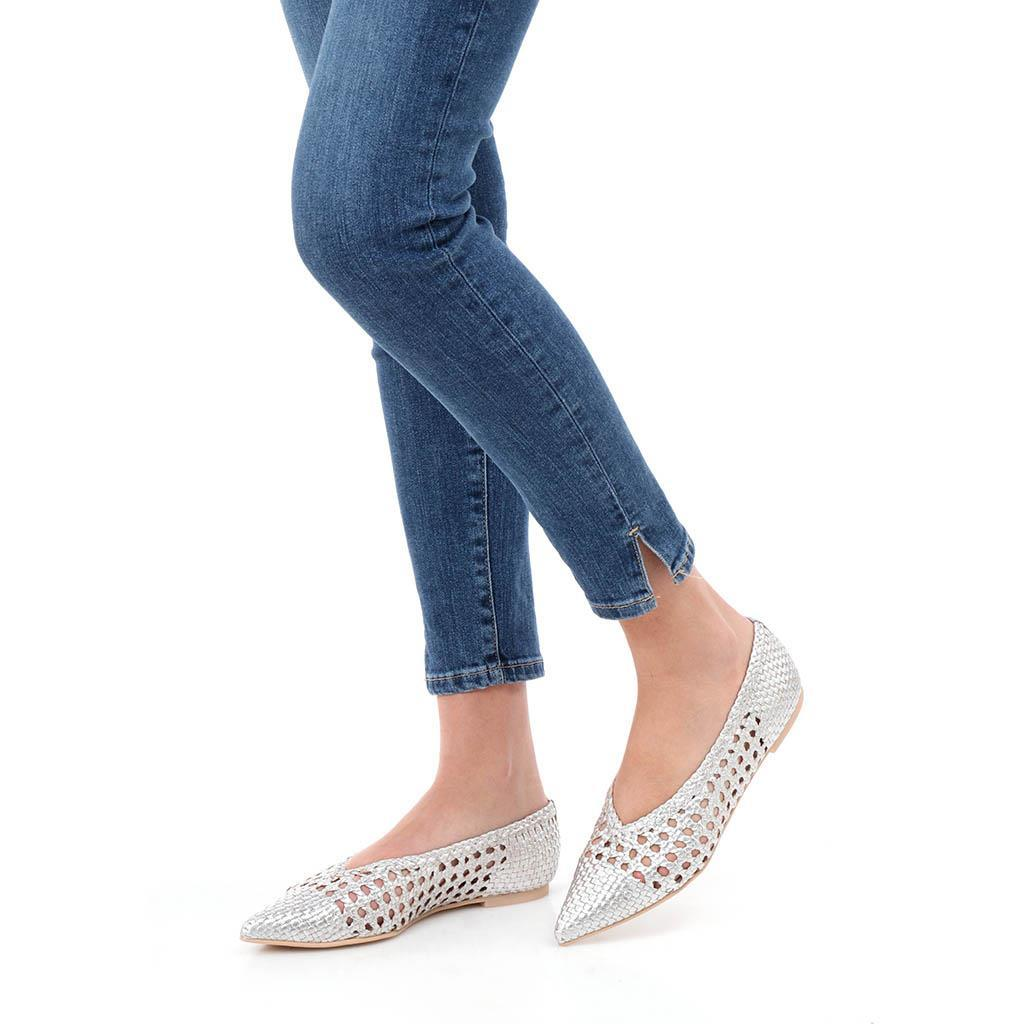 Ella כסף נעלי בובה נעלי בלרינה נעליים שטוחות נעליים נוחות ballerinas