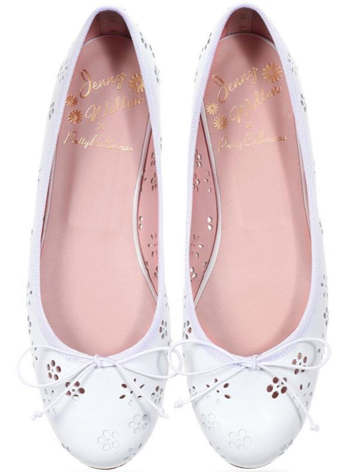 Marilyn|לבן|נעלי בובה|נעלי בלרינה|נעליים שטוחות|נעליים נוחות|ballerinas