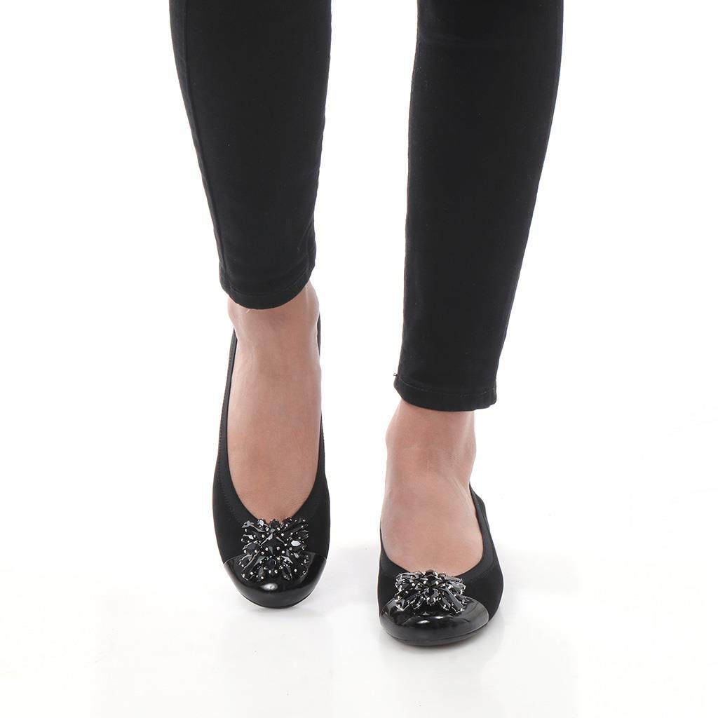Aniyah|שחור|נעלי בובה|נעלי בלרינה|נעליים שטוחות|נעליים נוחות|ballerinas