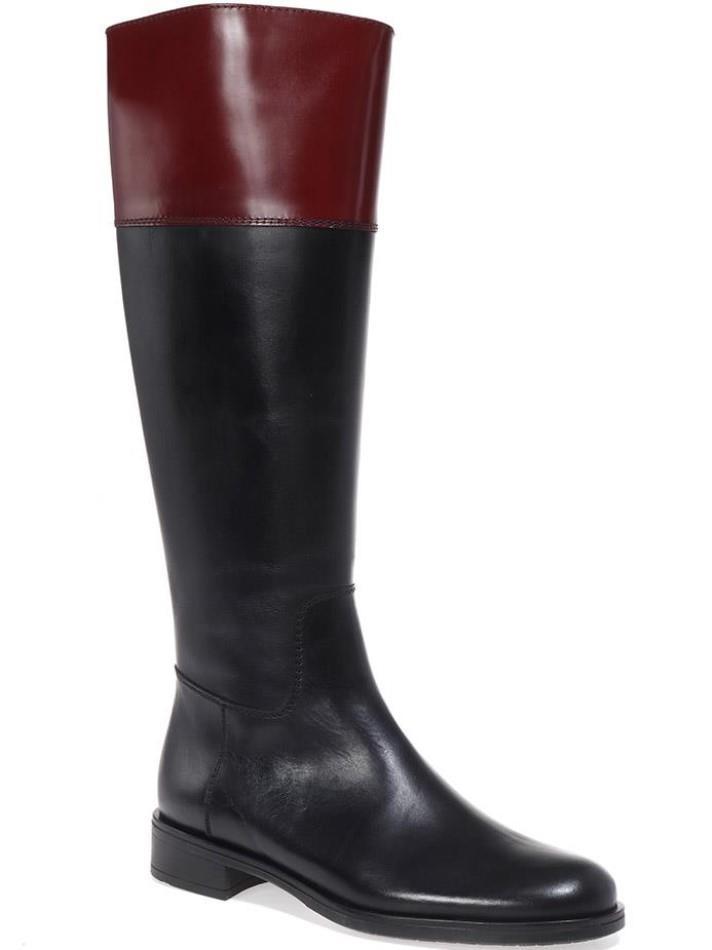 Jordyn שחור בורדו מגפיים מגפיים לנשים מגפי עור לנשים