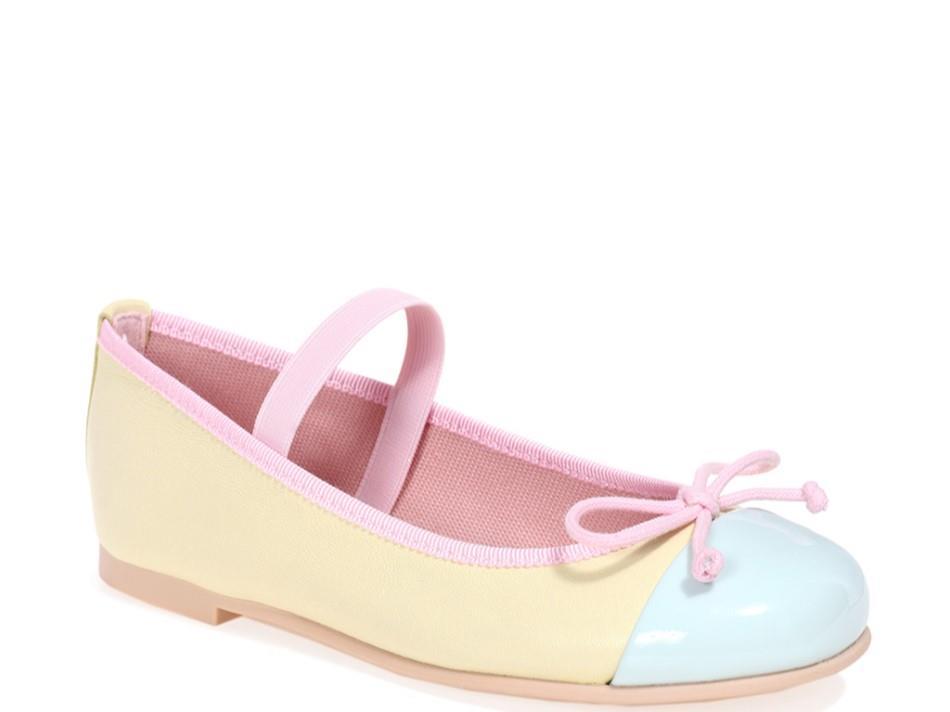 Karina תכלת צהוב ילדות  בלרינה נעלי בלרינה לילדות נעלי בלרינה