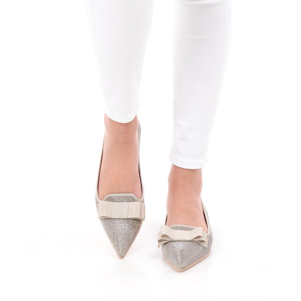 Ella כסף ניוד נעלי בובה נעלי בלרינה נעליים שטוחות נעליים נוחות ballerinas