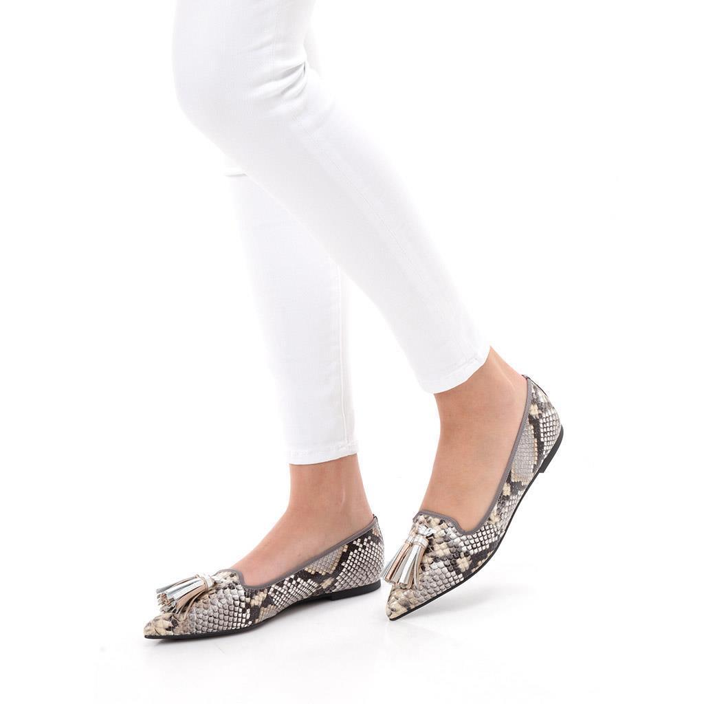 Leslie כסף נעלי בובה נעלי בלרינה נעליים שטוחות נעליים נוחות ballerinas