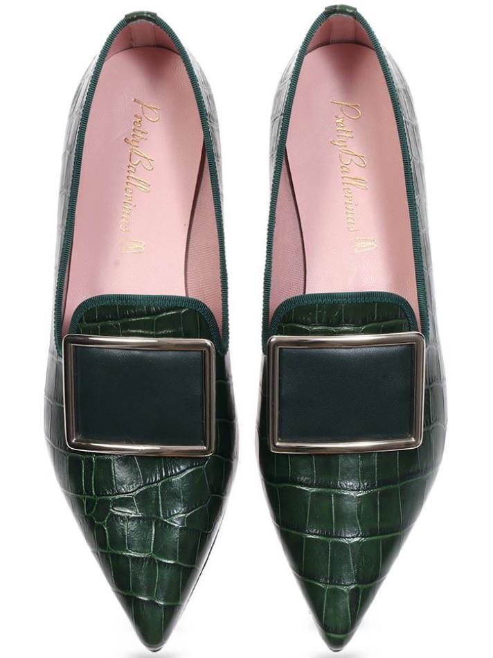 Jazlyn|ירוק|נעלי בובה|נעלי בלרינה|נעליים שטוחות|נעליים נוחות|ballerinas