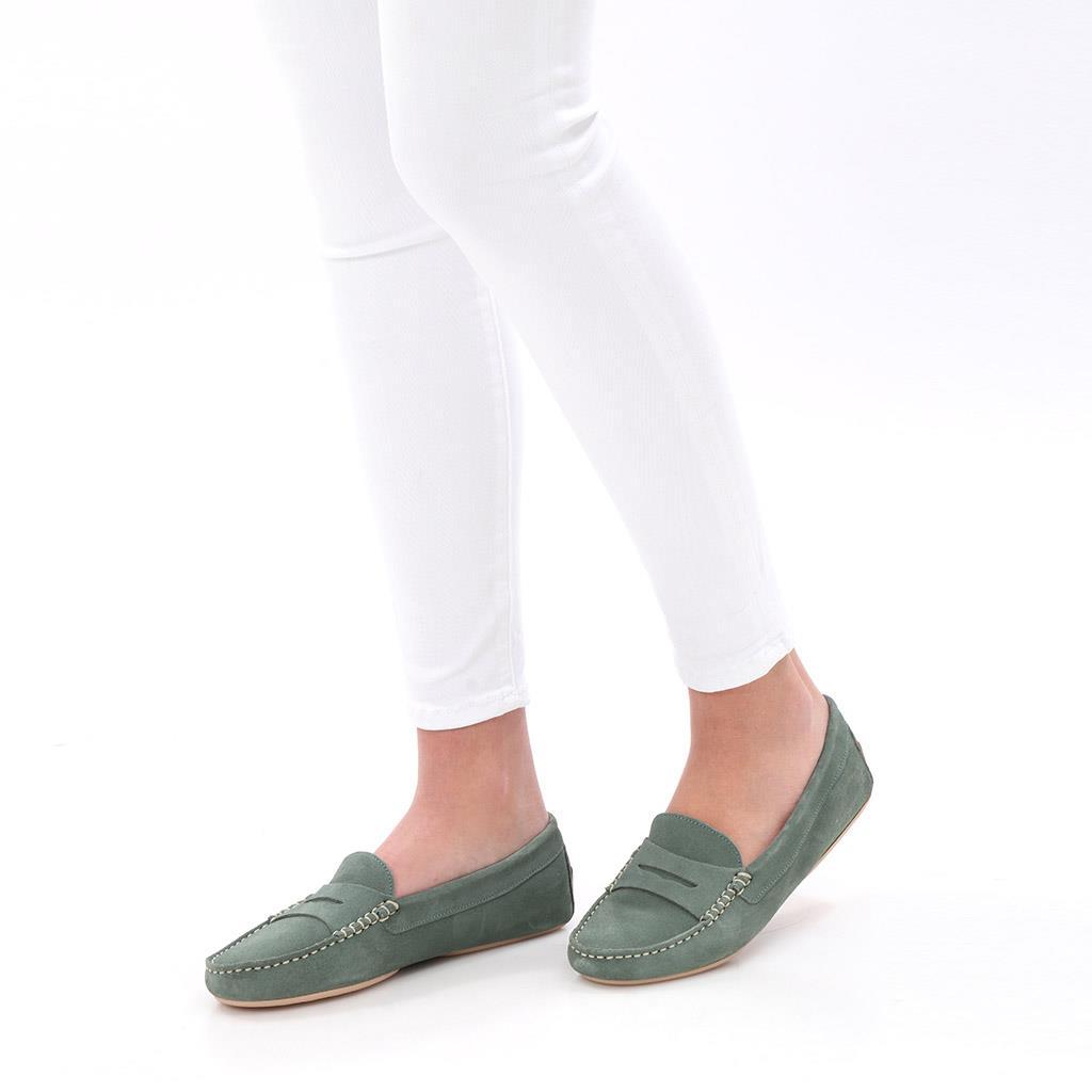 Marie|ירוק|מוקסין|מוקסינים|נעליים שטוחות|moccasin