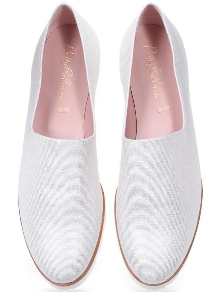 Pearl|לבן|נעלי בובה|נעלי בלרינה|נעליים שטוחות|נעלי פלטפורמה|ballerinas
